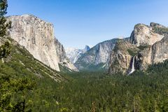 Bridalvail Fall seen from Tunnel view, Yosemite National Park royalty free stock photos