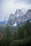 Bridalveil Falls in the winter at Yosemite Royalty Free Stock Images