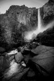Bridalveil Falls Yosemite National Park Black and White Stock Image