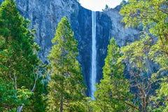 Bridalveil Spada przy Yosemite parkiem narodowym z zielonymi nasłonecznionymi drzewami w forwground zdjęcia stock