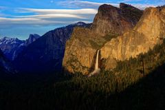 Bridalveil waterfall seen from tunnel view Royalty Free Stock Photo