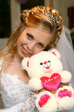 Bride. With a bear toy Stock Photos