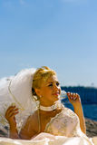 Bride. Portrait of a bride in a veil looking somewhere Royalty Free Stock Photography