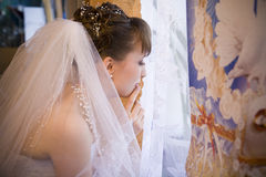 Bride. Young bride getting ready for wedding ceremony Royalty Free Stock Photo