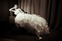 Bride. Young caucasian bride in the hotel room Royalty Free Stock Images