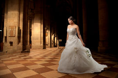 Bride. Walking in a courtyard stock photo