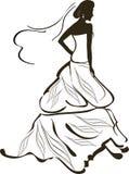 Bride. Female silhouette of decorated bride Stock Image