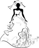 A Bride. Stylized Silhouette of a beautiful woman Royalty Free Stock Photography