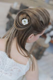 Bride. S hair with a flower Royalty Free Stock Photos