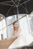 Bride. Is looking through the window Royalty Free Stock Photos
