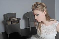 Bride. Sad bride near the chair Stock Image