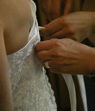 The Bride. Preparing the bride, making sure that the wedding dress is fitted properly before the wedding ceremony royalty free stock image