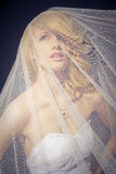The Bride. Posing under the wedding veil Royalty Free Stock Image