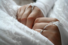 The bride. Picture of a bride hands royalty free stock photo