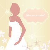 Bride. Classic birde with banner  - You are invited - funky flowers Stock Image