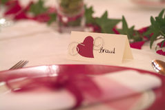 Bride. Place card on decorated table Stock Photo