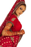 Bride. Asian Bride in beautiful Red dress stock images