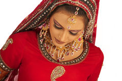 Bride. Asian Bride in beautiful Red dress royalty free stock images