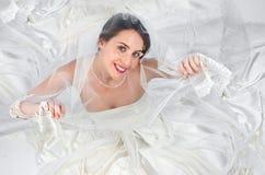 Bride. In wedding dress portrait Stock Photos