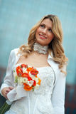 Bride. In wedding dress portrait Royalty Free Stock Photo
