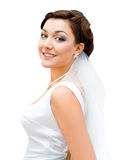 Bride. Young charming bride looks into camera, isolated stock photos