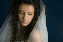 Bride. Attractive bride wearing white dress stock photos
