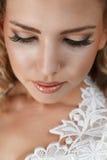 Bride. Young beautiful bride face close-up portrait Stock Image