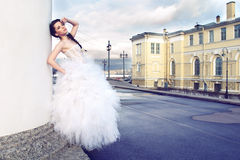 Bride. Outdoors portrait of young beautiful bride in city streets Stock Photos