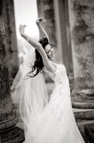 Bride. Beautiful bride posing, black and white version Stock Photography