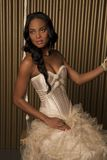 Bride. African american bride in luxurious wedding dress on a swing royalty free stock photos