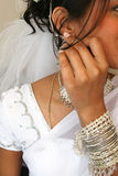 Bride. Beautiful Indian Bride with white saree Stock Photography
