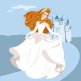Bride. Vector illustration of princess, beauty-bride, walking near the magic palace Royalty Free Stock Photography