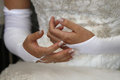 Bride. A close up with brides hands Royalty Free Stock Images