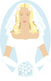 Bride. Veiled bride holding a bouquet of white flowers Stock Photo
