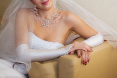 Bride. In her wedding gown. Soft focused image Stock Photography