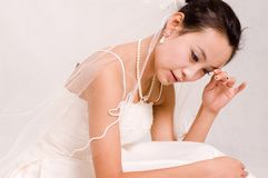 Bride. Beautiful Chinese bride in her wedding dress Stock Photo