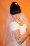 Bride. The bride on an orange background stock image