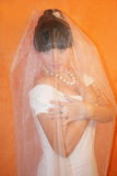 Bride. The bride on an orange background stock images