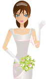 Bride. Beautiful Brunette Caucasian Woman, Bride, Princess Or Beauty Contestant, In A Tiara, White Dress And Gloves, Waving While Carrying A Bouquet Royalty Free Stock Photos