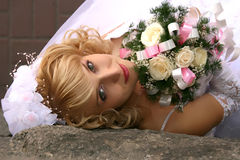 Bride. Young beautiful bride with blond hair Royalty Free Stock Photography