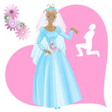 Bride. Girl in wedding gown, on background - a heart with silhouette of the bridegroom and flowers Stock Images