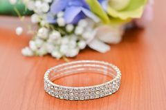Bride accessories details. Wedding bracelet accessory with diamonds Stock Photos
