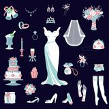 Bride accessories vector set wedding items for marriage ceremony bridal dress, shoes, garter, bouquet, veil, jewelry. Bride accessories vector set wedding stock illustration