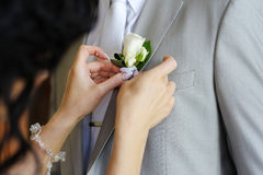 Bride adjusting groom's boutonniere Stock Images