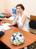 Bride is afraid of getting married Stock Photos