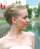 Bride against summer landscape Stock Photo