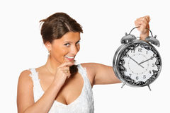 Bride with alarm clock Stock Photos
