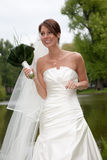 Bride all excited. Beautiful bride with big smile looking happy and excited Stock Image