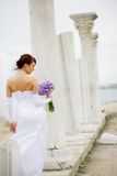 Bride Among Ancient Columns Royalty Free Stock Image