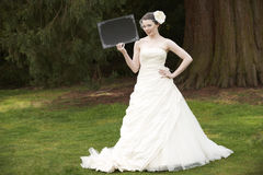 Bride And Blank Board Stock Photo